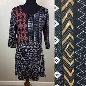 Papillon geometric patterns shift dress size L